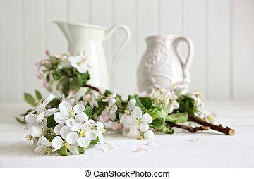 Apple tree branches in a vase