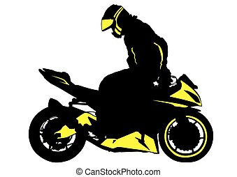 Motorcyclist man - People and sport bike on white background