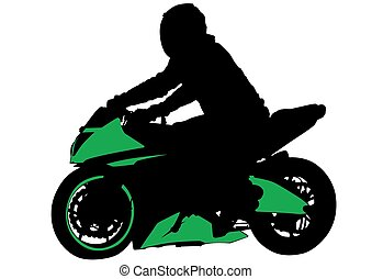 Sport motorcyclist - People and sport bike on white...
