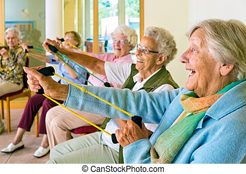 Elderly ladies exercising in a gym - Large group of happy...