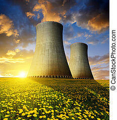Nuclear power plant in the sunset