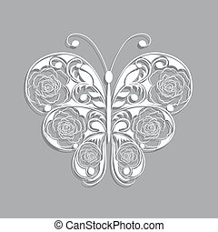 White paper butterfly with floral pattern on gray background.