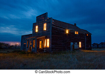 Old General Store at Night - Old general store with lights...