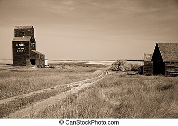 Prairie Grain Elevator on the Canadian landscape - Prairie...