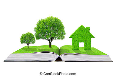 Ecological book with trees and house isolated on white...