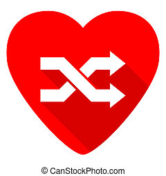 aleatory red heart valentine flat icon
