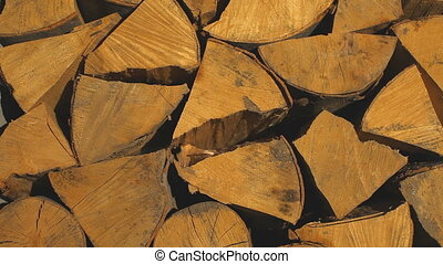 Beautifully stacked firewood for the fireplace