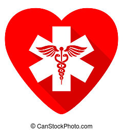 emergency red heart valentine flat icon