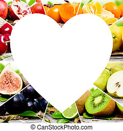 Fruit mix - Photo of colorful fruit mix with white heart...