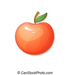 Red apple, vector illustration in cartoon style