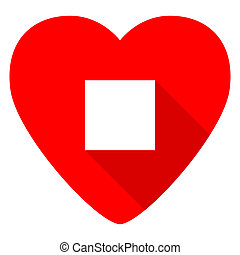 stop red heart valentine flat icon