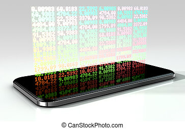 Smart Phone Stock App - A generic smartphone projecting a...
