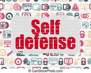 Safety concept: Self Defense on wall background - Safety...