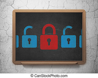 Security concept: closed padlock icon on School Board background