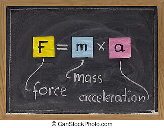 Newton second law on blackboard - force applied to a body...