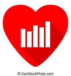 graph red heart valentine flat icon