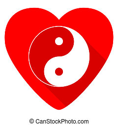 ying yang red heart valentine flat icon