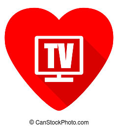 tv red heart valentine flat icon