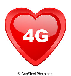 4g red heart valentine glossy web icon