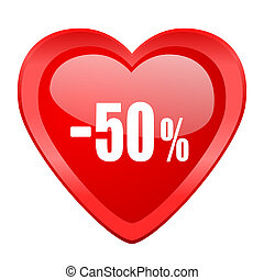 50 percent sale retail red heart valentine glossy web icon