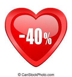 40 percent sale retail red heart valentine glossy web icon