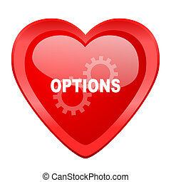 options red heart valentine glossy web icon