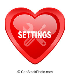 settings red heart valentine glossy web icon