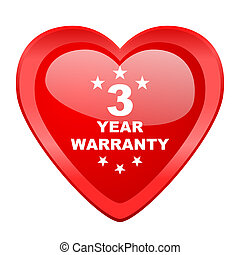 warranty guarantee 3 year red heart valentine glossy web icon