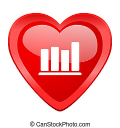 bar chart red heart valentine glossy web icon