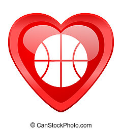 ball red heart valentine glossy web icon
