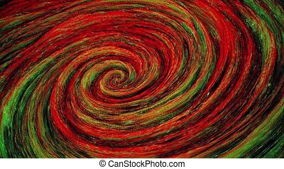 Abstract rotating spiral in red,green and black colors
