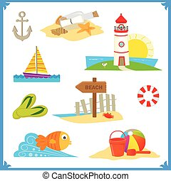 Coastal Icons - Cute vector set of nine coastal icons Eps10