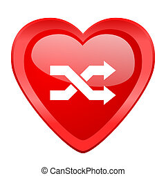aleatory red heart valentine glossy web icon