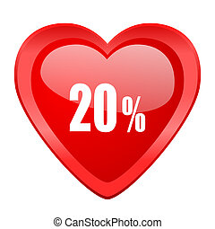 20 percent red heart valentine glossy web icon