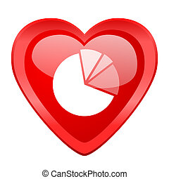 diagram red heart valentine glossy web icon