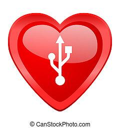 usb red heart valentine glossy web icon