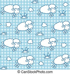 Seamless pattern with funny sheeps and clouds - Seamless...