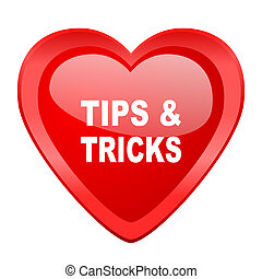 tips tricks red heart valentine glossy web icon