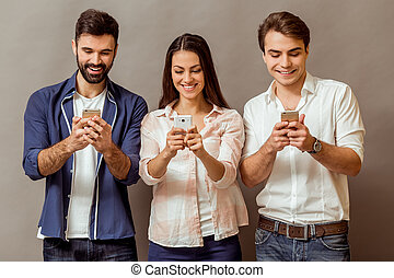 Group of young people - Technology and internet concept:...