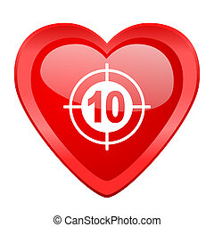 target red heart valentine glossy web icon