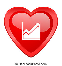 histogram red heart valentine glossy web icon