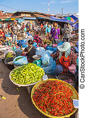 laos - Vientiane,Laos- Jan 17 ;Many Vendors and costumer of...