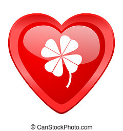 four-leaf clover red heart valentine glossy web icon