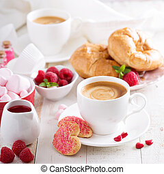 Valentines day breakfast with croissants - Valentines day...