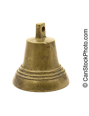 Brass bell - A small old brass bell isolated on white