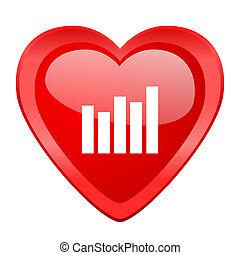 graph red heart valentine glossy web icon