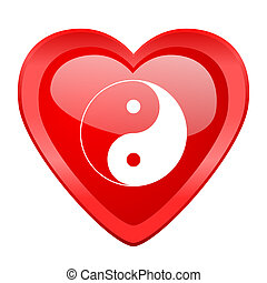 ying yang red heart valentine glossy web icon