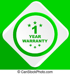warranty guarantee 1 year green flat icon