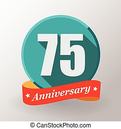 75 Anniversary label with ribbon. - 75 Anniversary label...