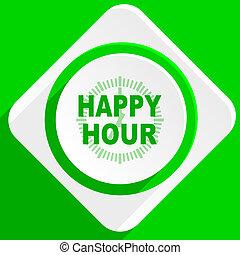 Feliz, hora, verde, apartamento, ícone,